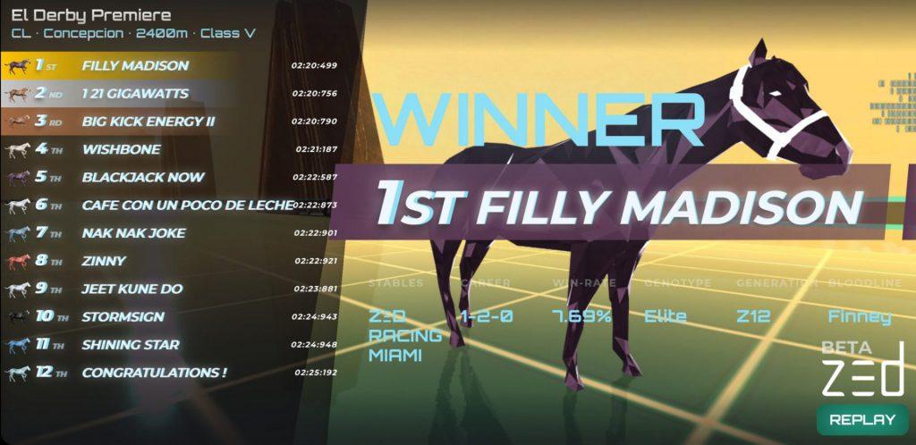ZED RUN WINNERS RESULTS