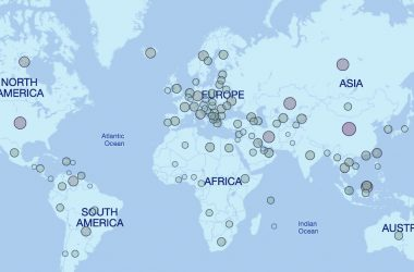 map of location where bitcoin is mined